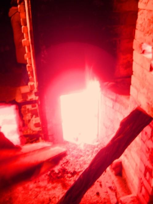 focolare del forno durante una cottura